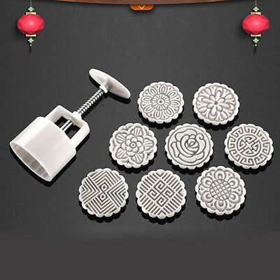 DIY Round Baking Mooncake Mold Pastry Biscuit Cake Mould Flower + 8 Stamps