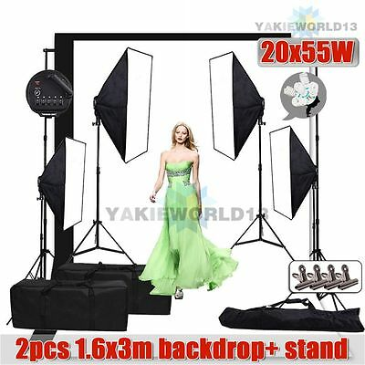 5500W Photo Studio 5 Head Softbox Continuous Lighting Screen Backdrop Stand Kit