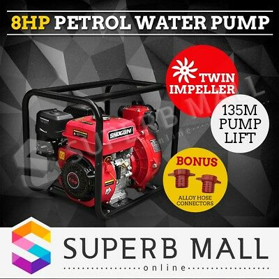 "8HP 2"" Twin Impeller Petrol High Flow Pressure Water Transfer Pump Fire Fighting"