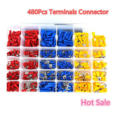 480×Car Electrical Wire Insulated Cabling Terminals Connectors Spade Accs Crimp
