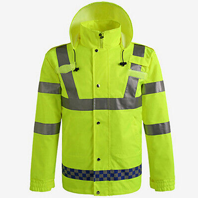 CNSS Safety Reflective VISIBILITY Hi-Vis Waterproof Raincoats Rainjacket w/ Hood