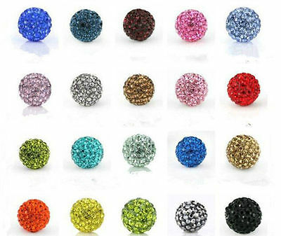 NEW 10Pcs Czech Crystal Rhinestones Pave Clay Round Disco Ball Spacer Beads