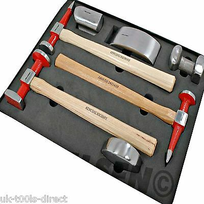 Auto Body Panel Repair Tool Hammer Kit 7pc Hickory 4 x Dollys Beating Hammer