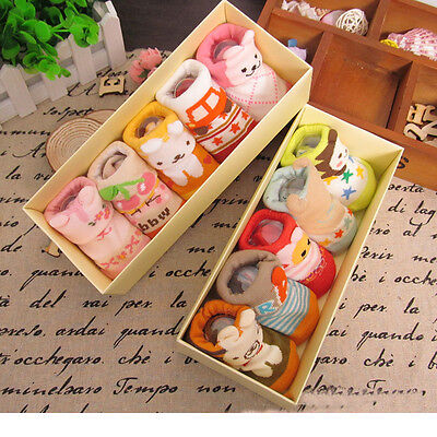 5 Pairs Newborn Baby Infant Boys Girls Cute Cartoon Cotton Non-slip Socks 0-12M