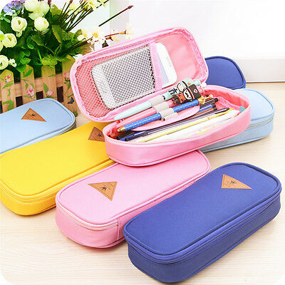 Canvas Pen Pencil Case Student Stationery Cosmetic Box Travel Bags High Capacity