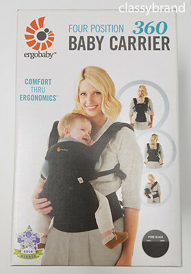 ErgoBaby Four Position 360 Baby Carrier Pure Black - NEW AUTHENTIC
