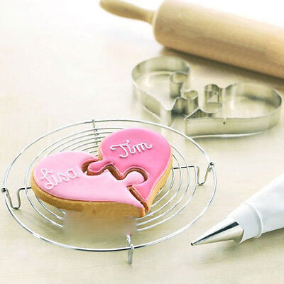 2pcs Stainless Heart Cake Cookies Cutter Fondant Biscuit Wedding Pastry Mould