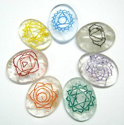 Beautiful Clear Quartz Reiki Carved Gemstone Seven Stones Set Gift Rune Energy