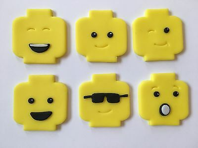 6 Handmade Edible Sugarpaste Lego Man Faces Cupcake Toppers Decorations