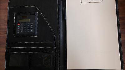 A4 Faux Leather Conference Clipboard Document Tablet Holder Black Calculator