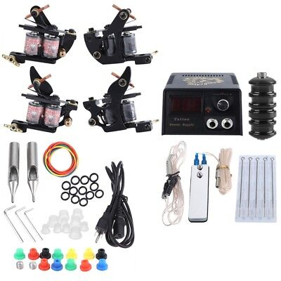 Complete Tattoo Kit 2 Machine Guns Shader 20 Colors Ink Needles Power Supply