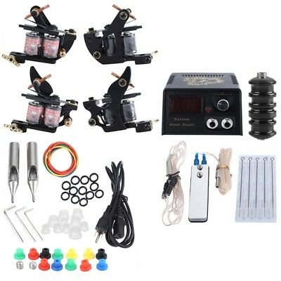 Professional Tattoo Complete Kit 2 Machine Guns Shader Needles Power Supply Tips