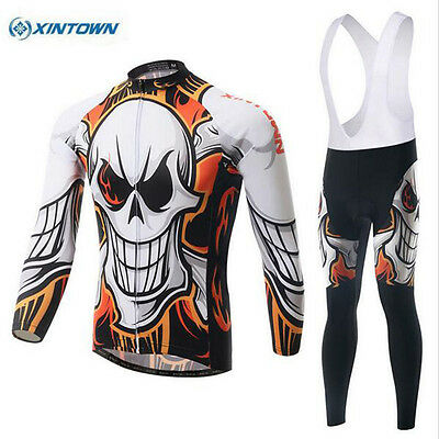 XINTOWN Skull Vélo Ropa de Ciclismo Hommes manches longues jersey Long Pantalon