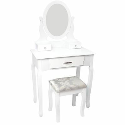 NISHANO DRESSING TABLE 3 Drawer With Stool White Bedroom Vanity Makeup Desk