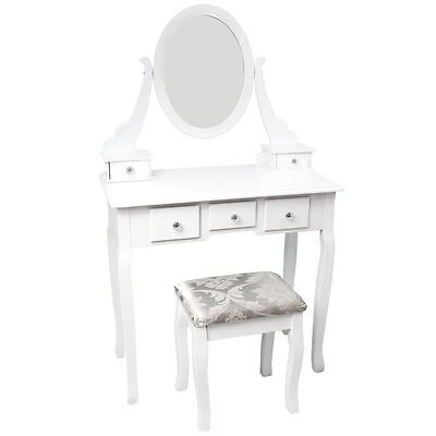 NISHANO DRESSING TABLE 5 Drawer With Stool White Bedroom Vanity Makeup Desk