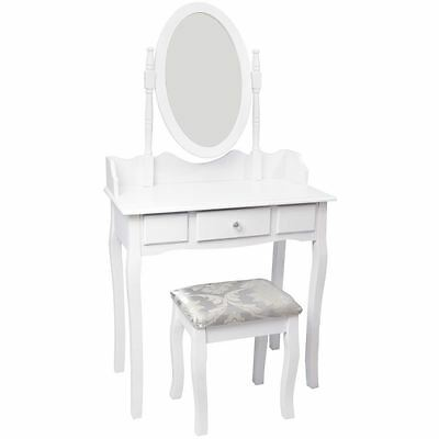 NISHANO DRESSING TABLE 1 Drawer With Stool White Bedroom Vanity Makeup Desk