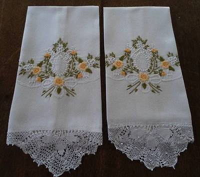 Vintage Set Hand Guest Towel Yellow Embroidery Needle Lace