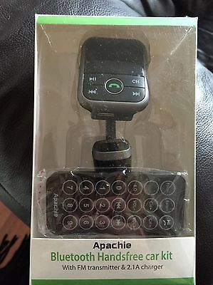 Apachie Bluetooth Handsfree Car Kit with FM Transmitter & 2.1A Charger