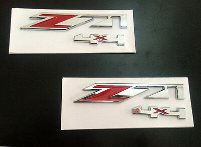 2X ABS Chrome Red Z71 4X4 Emblem Sticker Badge Fit GMC Chevy Silverado Suburban