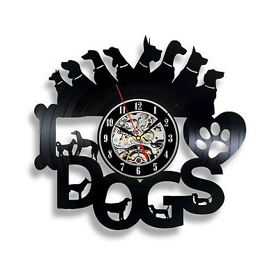 Dogs_Dog Collar_Exclusive wall clock made of vinyl record_GIFT 626
