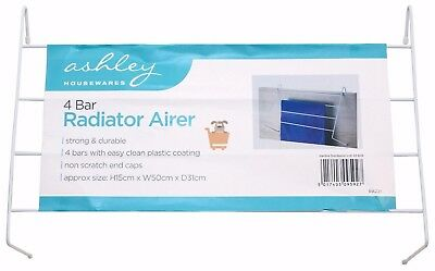 4 Bar Radiator Airer Drier White Indoor Clothes Drying Rack Rail Dryer
