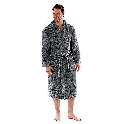 Harvey James Mens Soft Fleece Dressing Gown Warm Comfy Bath Robe Grey