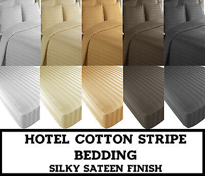 Hotel EGYPTIAN Cotton SILKY SATEEN STRIPE Duvet Cover set / Fitted Sheet Bedding