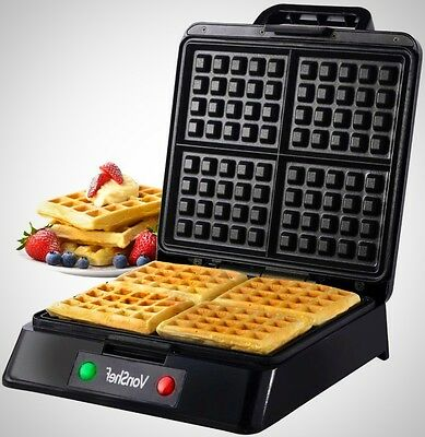 Quad Waffle Maker Belgian Iron in Stainless Steel Non-Stick Machine