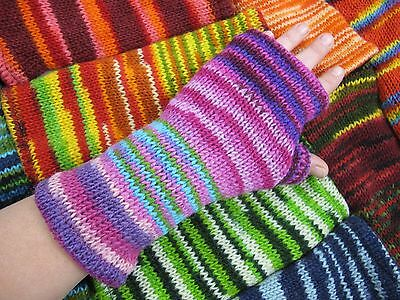 Womans Winter Thermal Wool Arm warmers Fingerless Gloves Hand-Knitted Woolly