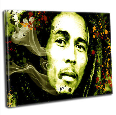 Bob Marley Abstract Smoke Framed Canvas Print Music Icon Wall Art Picture
