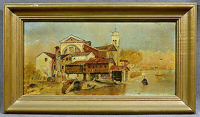 19th Century Italian School Oil Painting Venetian Scene with Gold Frame