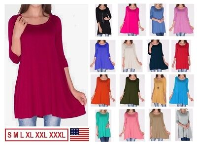 New Women's 3/4 Sleeve Tunic Top Dress Round Neck Blouse USA S M L XL Plus 2X 3X