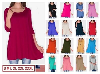 Womens Long 3/4 Sleeve Tunic Top Shirt Blouse Dress S M L 1X 2X 3X Plus Size