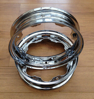 Lambretta Series 3 Li Gp Sx Tv Chrome   350X10  Wheel Rims 2X Wheels One Pair