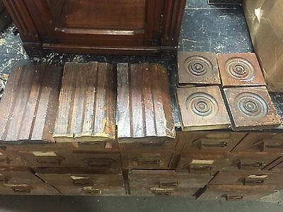 "lot 7 victorian corner & BASE molding PLINTH blocks cHESTNuT 4 7/8"" X 8"" & 4"" sq"