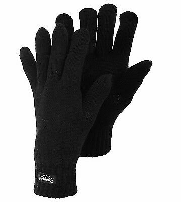Mens Thermal Extreme Winter Thinsulate Lining Knitted Gloves Warm Woolly Black