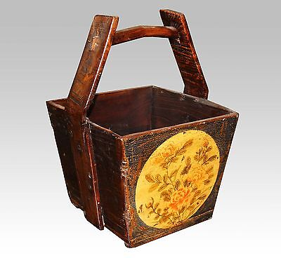 A Chinese Antique Dark Wooden Dou / Magazine Box with Handle 21.5'' High Yellow