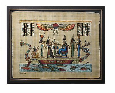 HAND PAINTED EGYPTIAN ART ON PAPYRUS Hathor, Ma'at, Nefertari, Isis Framed #18