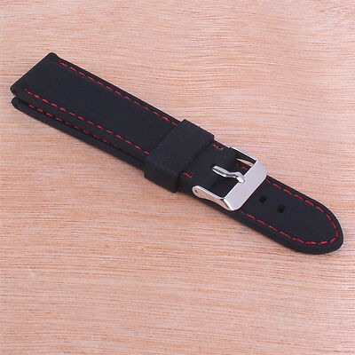 Black/Red Silicone Rubber 18/20/22/24mm Buckle Watch Band Wristwatch strap Belts