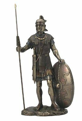 Roman Soldier with Spear and Shield Bronze Statue