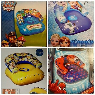 Inflatable chairs - minions, Disney frozen, Spiderman, Paw Patrol