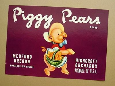 Medford Oregon Piggy Pears #2 Pig Pear Fruit Crate Label Art Print