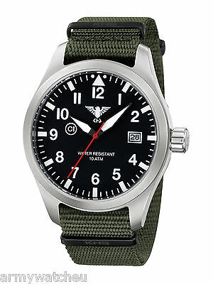 KHS Watch Airleader Pilot Police Watch Date Army Strap Oliv C1-Ligh KHS.AIRS.NB