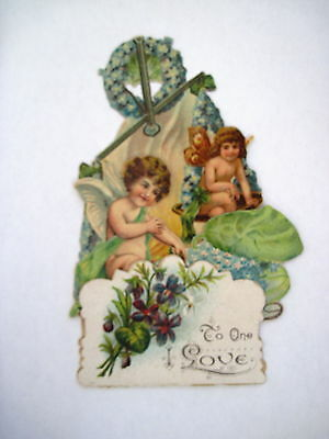 Vintage Victorian Embossed Pull Down Valentine Card w/ Angel Sitting on Scale *