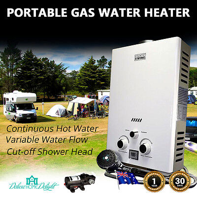 NEW Instant LPG Gas Hot Water PORTABLE OUTDOOR CAMPING SHOWER, PETS TOO+12V Pump