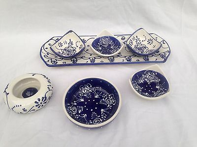 Spanish Pottery. Blue & White. Hand Painted. Beautiful Choice Of Items!
