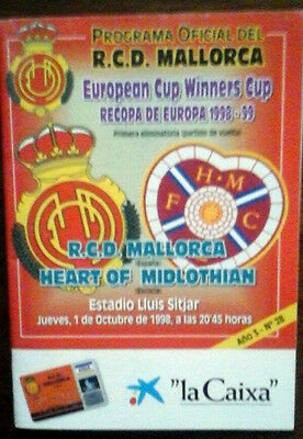 Real Mallorca V Hearts 1/10/1998 European Cup Winners Cup