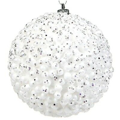 6 pcs Christmas White Snowy Baubles Balls Xmas Tree Decoration Home Ornaments