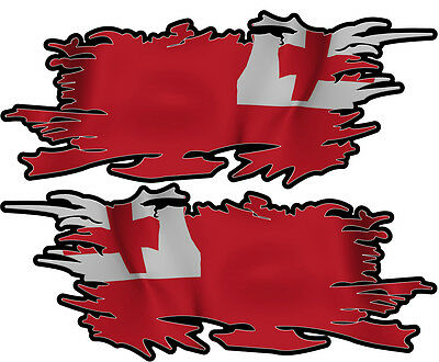 Tonga Ripped Flag Left & Right 100Mm By 40Mm Gloss Laminated
