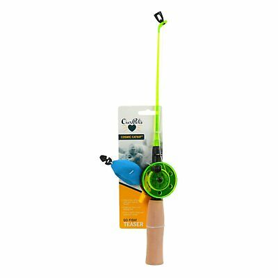 Our Pet's Fishing Rod with Fish Interactive Pet Cat Toy Fun Play Premium Catnip